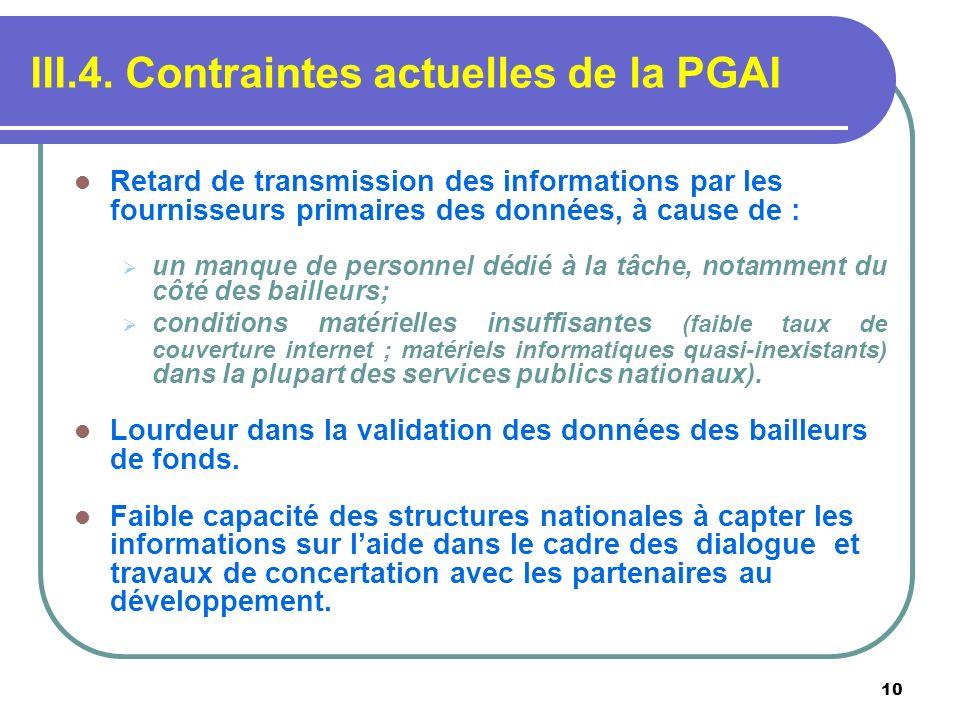 10 III.4. Contraintes actuelles de la PGAI Retard de transmission des informations par les fournisseurs primaires des données, à cause de : un manque