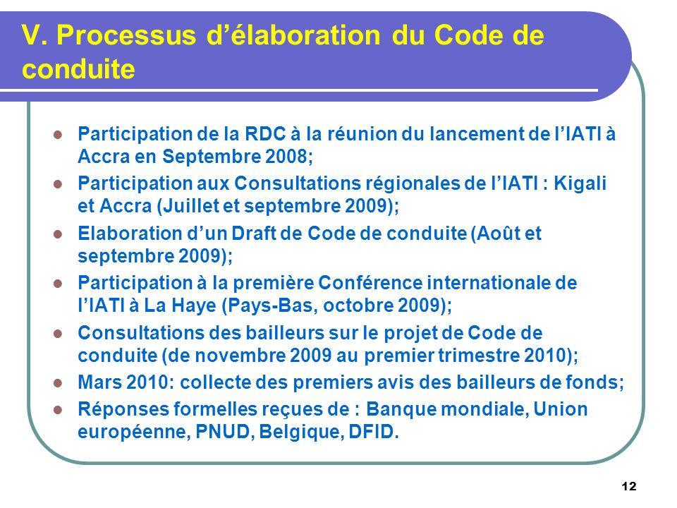 V. Processus délaboration du Code de conduite Participation de la RDC à la réunion du lancement de lIATI à Accra en Septembre 2008; Participation aux