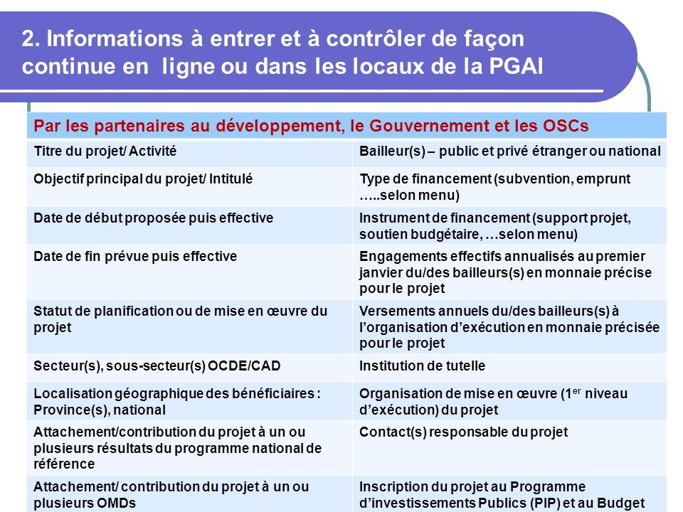 2. Informations à entrer et à contrôler de façon continue en ligne ou dans les locaux de la PGAI 14 Par les partenaires au développement, le Gouvernem