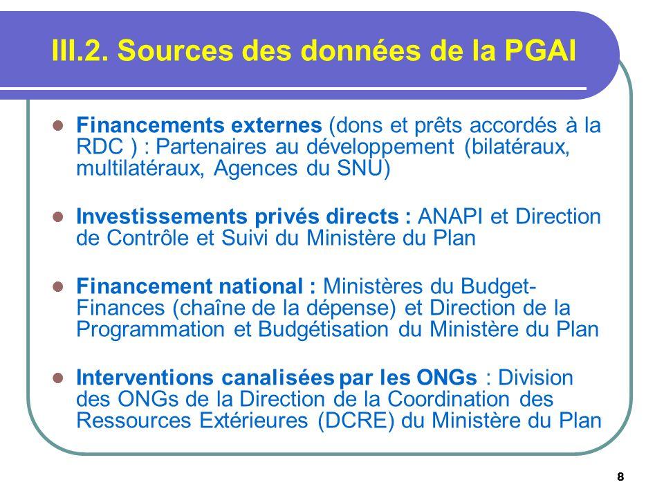 8 III.2. Sources des données de la PGAI Financements externes (dons et prêts accordés à la RDC ) : Partenaires au développement (bilatéraux, multilaté