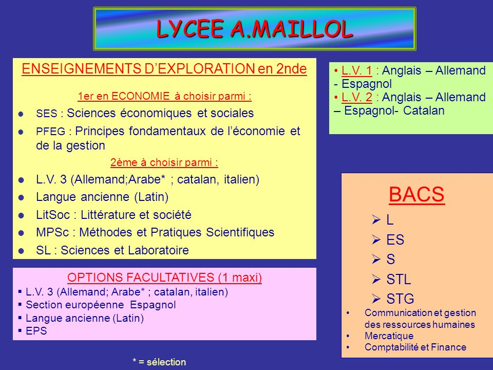 LYCEE A.MAILLOL BACS L ES S STL STG Communication et gestion des ressources humaines Mercatique Comptabilité et Finance OPTIONS FACULTATIVES (1 maxi)