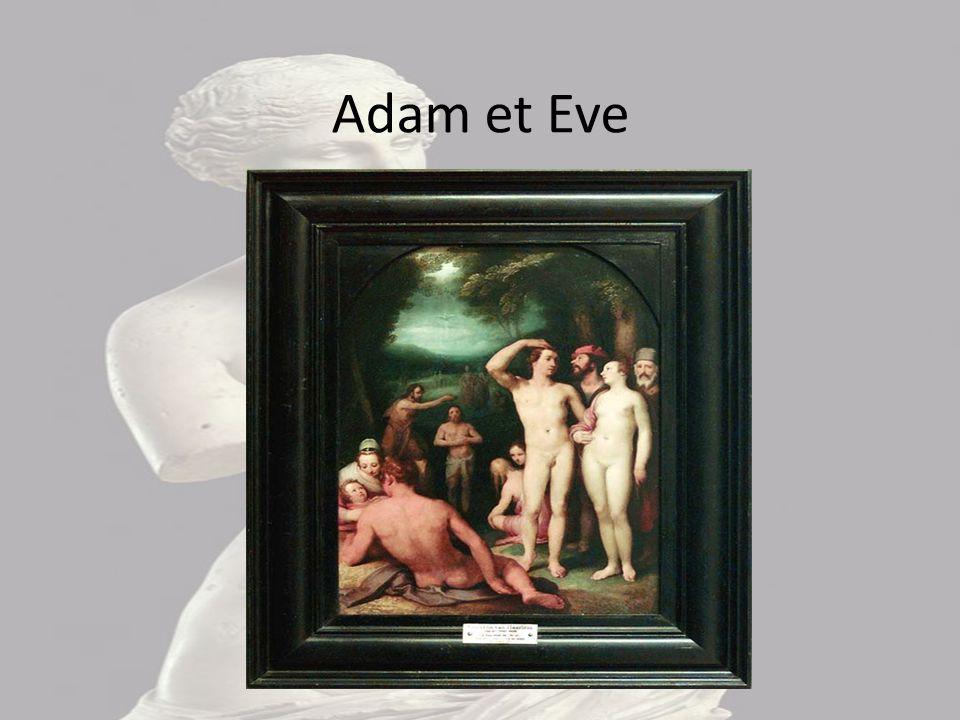 Adam et Eve Cette image représente Adam et Eve, nus, se tenant par le bras, avec devant eux, un homme nu allongé et de dos, devant une femme et un enf