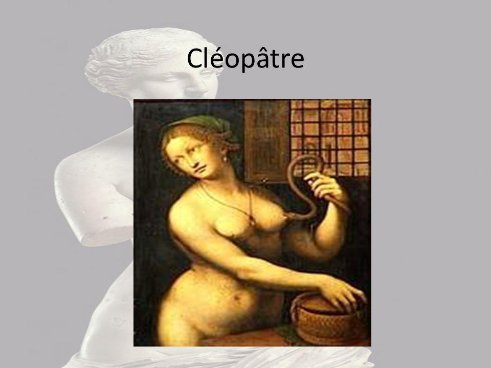 Cléopâtre Cette image représente Cléopâtre est debout et nue, elle a ouvert une panière, et il en est sorti un serpent, qui l'a mordu au sein gauche.