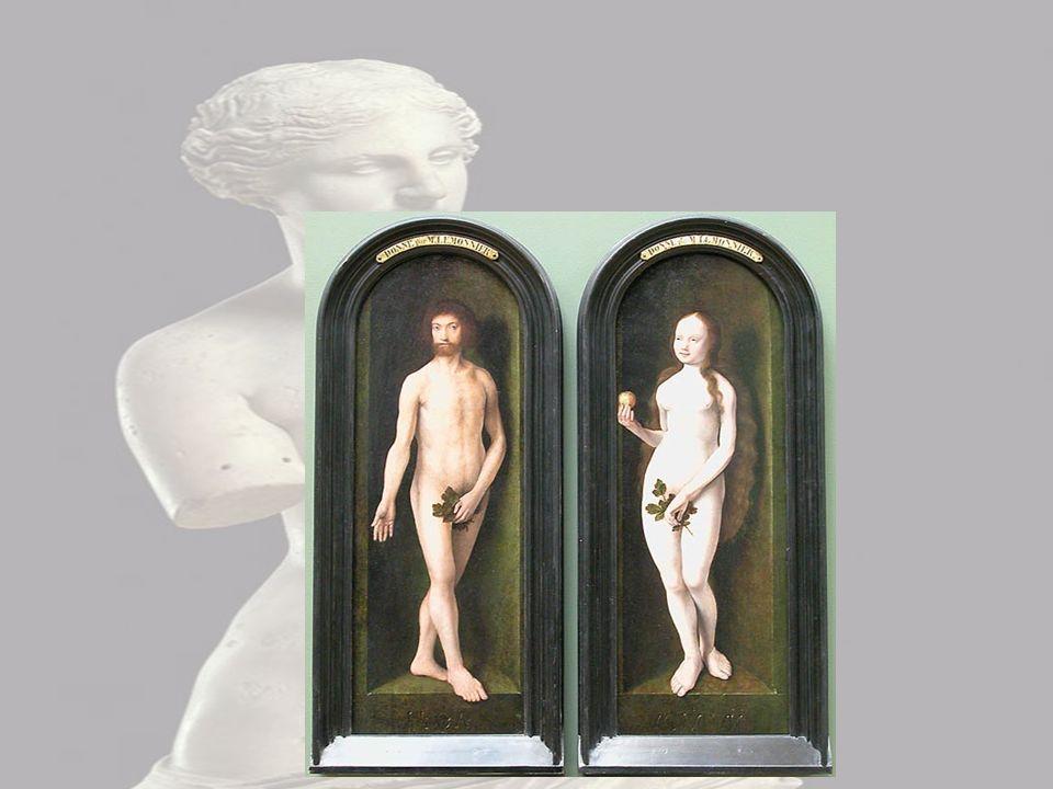 Adam & Ève J'observe Adam et Ève nue, je le c'est car Ève tien une pomme dans sa main.