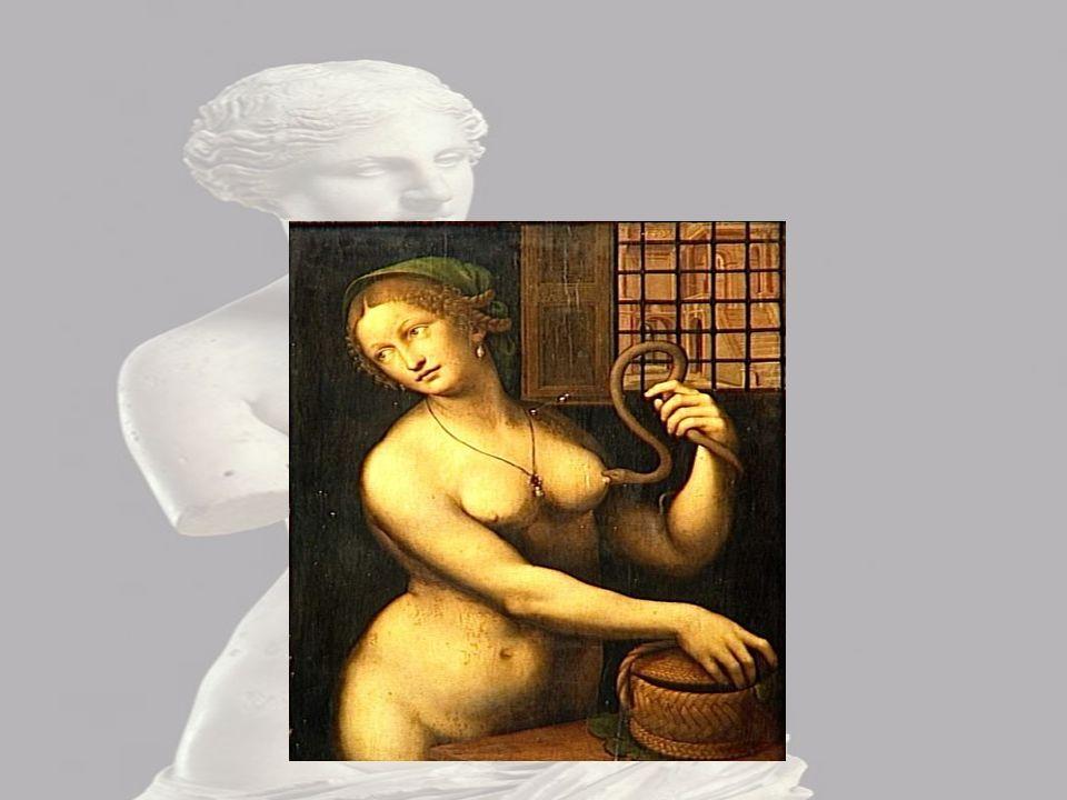 Cléopâtre J'observe Cléopâtre entrain de se faire mordre le sein par un serpent,je le c'est car elle se fait mordre par un serpent dans une tenue de p
