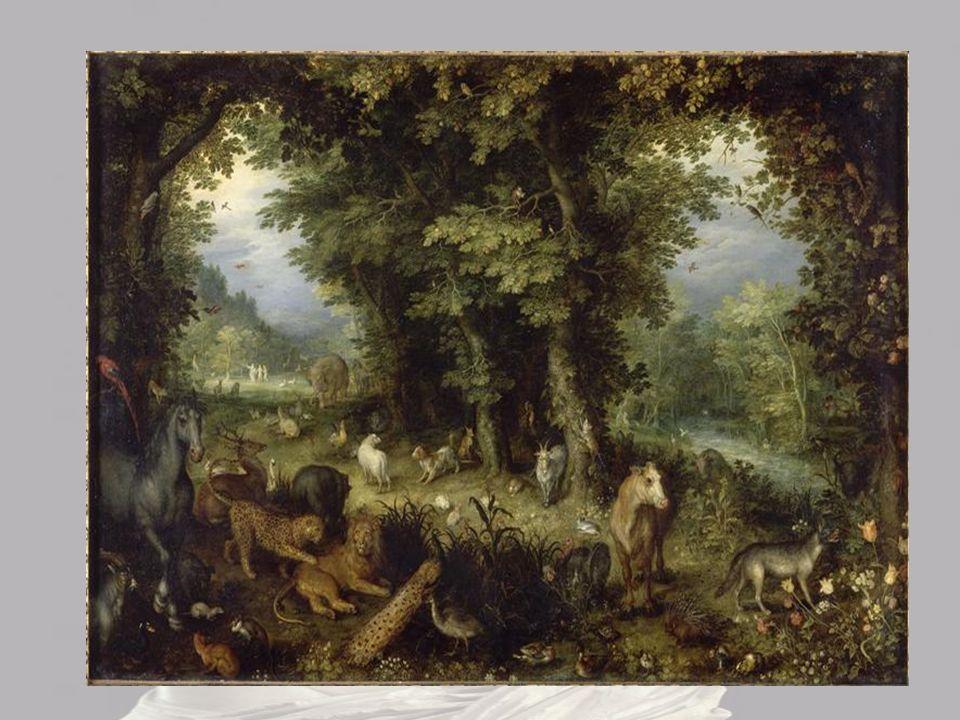 Adam et Eve sont debout et nus, une feuille de vigne recouvrant leurs parties génitales ( le tableau datant de la Renaissance ).