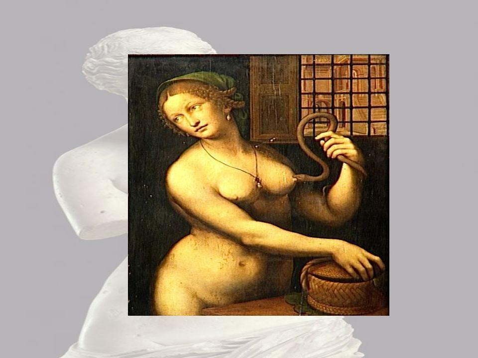 Cléopâtre Sur cette image je distingue Cléopâtre en train de se faire mordre le sein par un serpent. Je le sais car elle se fait mordre par un serpent