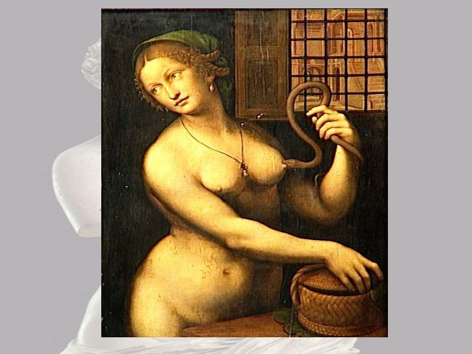 Cléopâtre Cette image représente Cléopâtre qui en se prostituant se fait mordre par un serpent au sein gauche.
