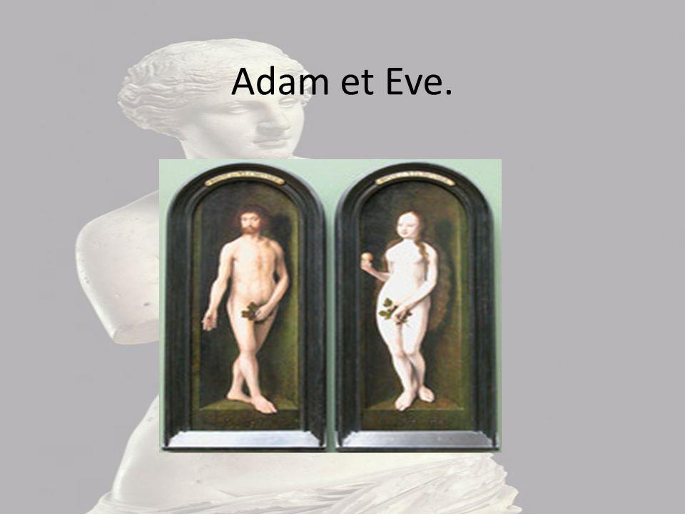 Adam et Eve Cette image représente Adam et Eve, nus l'un a coté de l'autre.On voit bien que c'est Adam et Eve car ils cache leur nudités par une feuil