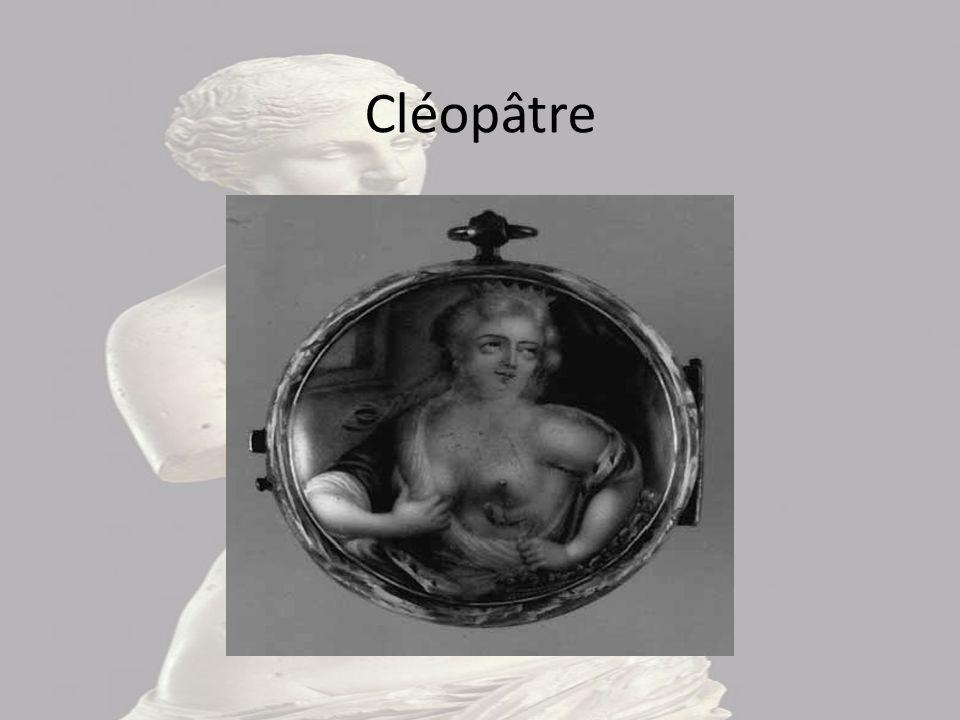 Cléopâtre Cette image représente Cléopâtre qui en se prostituant se fait mordre par un serpent au sein gauche. Elle le tient, mais trop tard il l'a dé