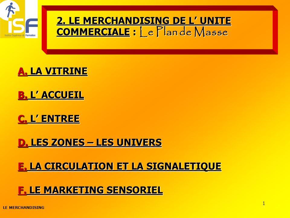 LE MERCHANDISING 1 2. LE MERCHANDISING DE L UNITE COMMERCIALE : Le Plan de Masse A. LA VITRINE D. LES ZONES – LES UNIVERS B. L ACCUEIL C. L ENTREE E.