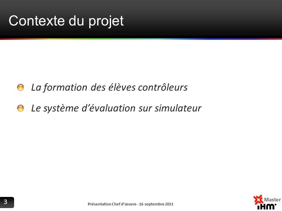 Contexte du projet La formation des élèves contrôleurs Le système dévaluation sur simulateur Présentation Chef dœuvre - 16 septembre 2013 3