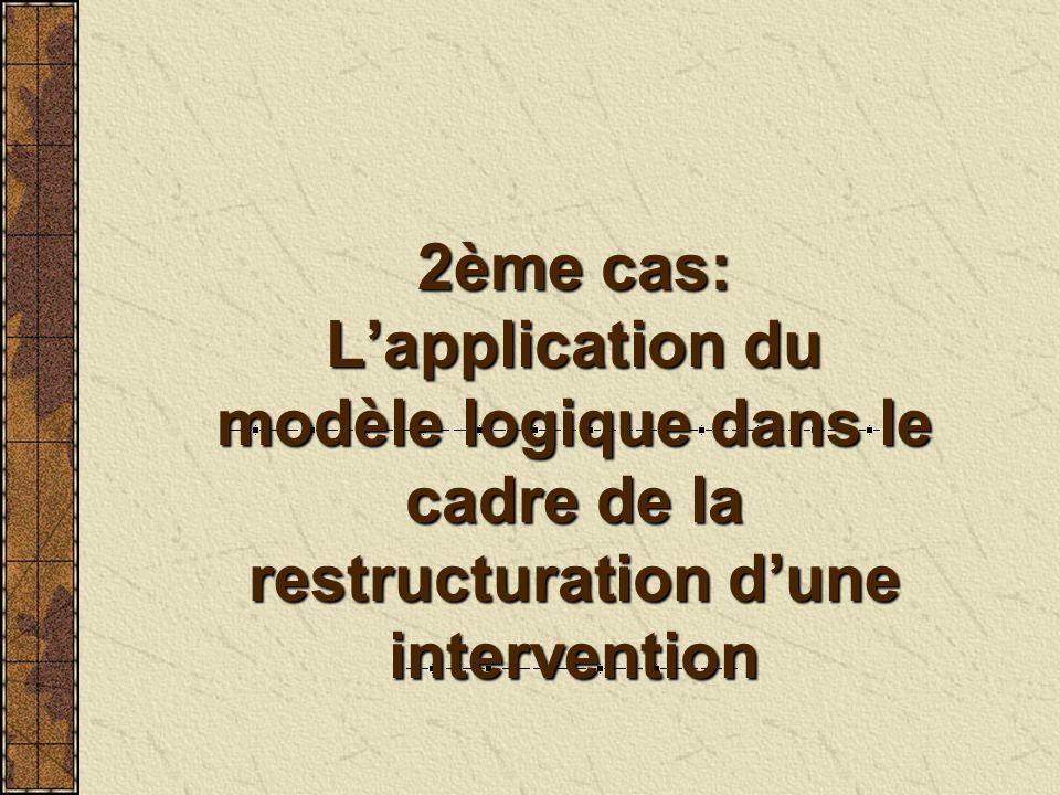 2ème cas: Lapplication du modèle logique dans le cadre de la restructuration dune intervention