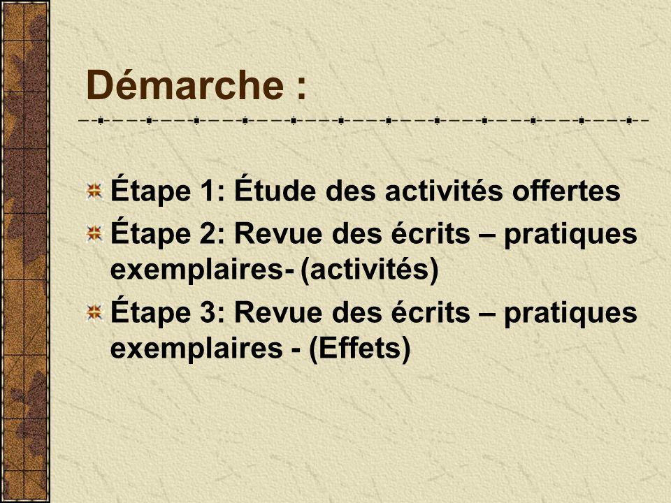 Démarche : Étape 1: Étude des activités offertes Étape 2: Revue des écrits – pratiques exemplaires- (activités) Étape 3: Revue des écrits – pratiques exemplaires - (Effets)