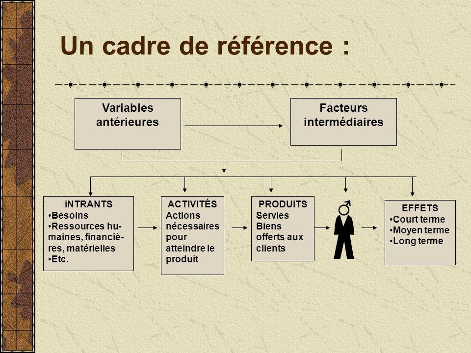 Un cadre de référence : Variables antérieures Facteurs intermédiaires iNTRANTS Besoins Ressources hu- maines, financiè- res, matérielles Etc.