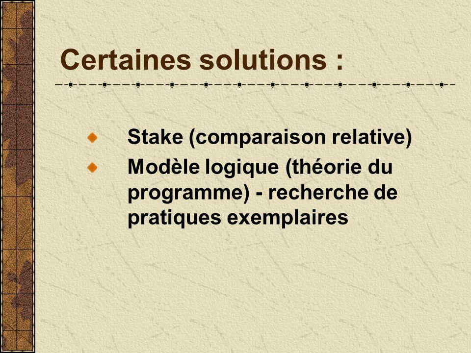 Certaines solutions : Stake (comparaison relative) Modèle logique (théorie du programme) - recherche de pratiques exemplaires