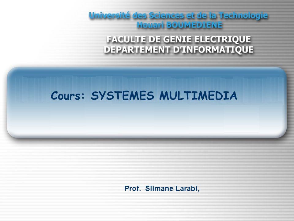 Notions sur le Traitement de l image Cours: SYSTEMES MULTIMEDIA Prof. Slimane Larabi,