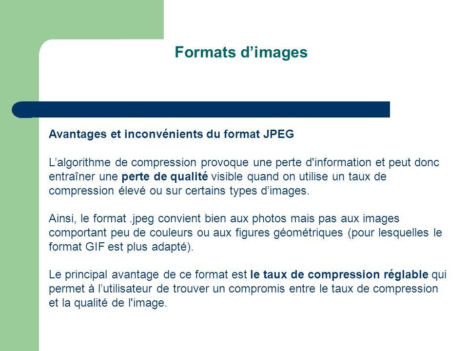 Formats dimages Avantages et inconvénients du format JPEG Lalgorithme de compression provoque une perte d information et peut donc entraîner une perte de qualité visible quand on utilise un taux de compression élevé ou sur certains types dimages.
