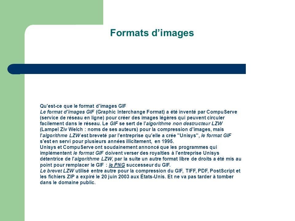 Qu est-ce que le format d images GIF Le format d images GIF (Graphic Interchange Format) a été inventé par CompuServe (service de réseau en ligne) pour créer des images légères qui peuvent circuler facilement dans le réseau.
