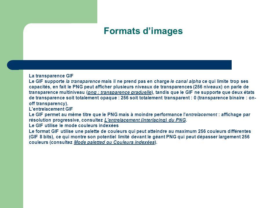 Formats dimages La transparence GIF Le GIF supporte la transparence mais il ne prend pas en charge le canal alpha ce qui limite trop ses capacités, en fait le PNG peut afficher plusieurs niveaux de transparences (256 niveaux) on parle de transparence multiniveau (png : transparence graduelle), tandis que le GIF ne supporte que deux états de transparence soit totalement opaque : 256 soit totalement transparent : 0 (transparence binaire : on- off transparency).png : transparence graduelle L entrelacement GIF Le GIF permet au même titre que le PNG mais à moindre performance l entrelacement : affichage par résolution progressive, consultez L entrelacement (interlacing) du PNG.L entrelacement (interlacing) du PNG Le GIF utilise le mode couleurs indexées Le format GIF utilise une palette de couleurs qui peut atteindre au maximum 256 couleurs différentes (GIF 8 bits), ce qui montre son potentiel limité devant le géant PNG qui peut dépasser largement 256 couleurs (consultez Mode paletted ou Couleurs indexées).Mode paletted ou Couleurs indexées