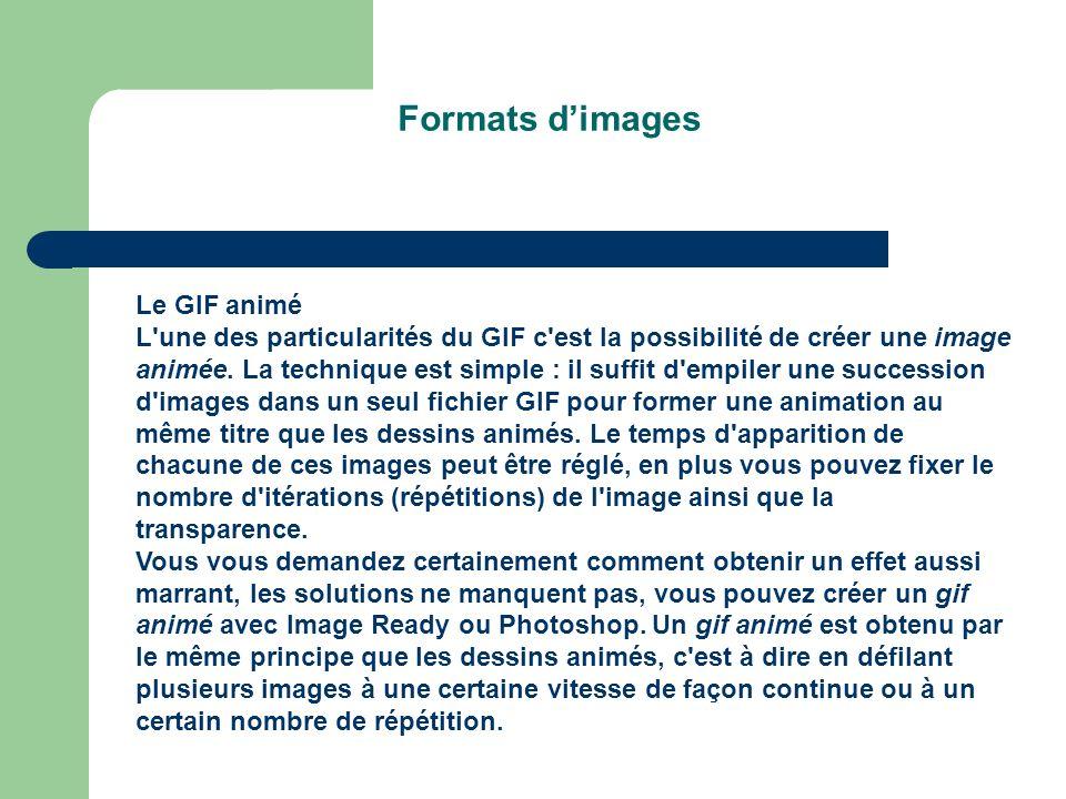Formats dimages Le GIF animé L une des particularités du GIF c est la possibilité de créer une image animée.