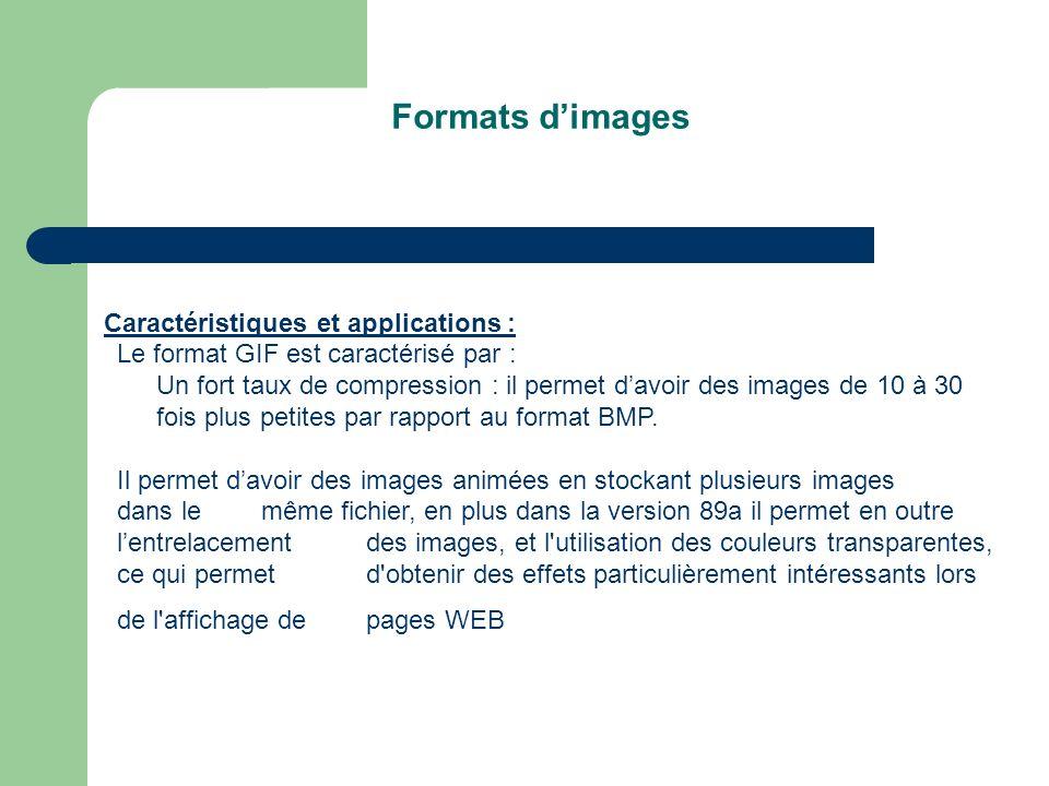 Formats dimages Caractéristiques et applications : Le format GIF est caractérisé par : Un fort taux de compression : il permet davoir des images de 10 à 30 fois plus petites par rapport au format BMP.