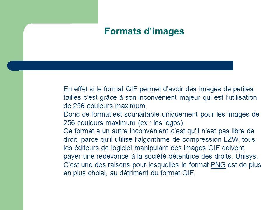 Formats dimages En effet si le format GIF permet davoir des images de petites tailles cest grâce à son inconvénient majeur qui est lutilisation de 256 couleurs maximum.