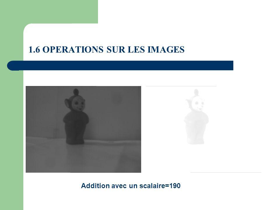 1.6 OPERATIONS SUR LES IMAGES Addition avec un scalaire=190