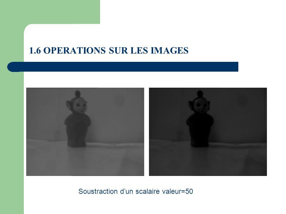 1.6 OPERATIONS SUR LES IMAGES Soustraction dun scalaire valeur=50