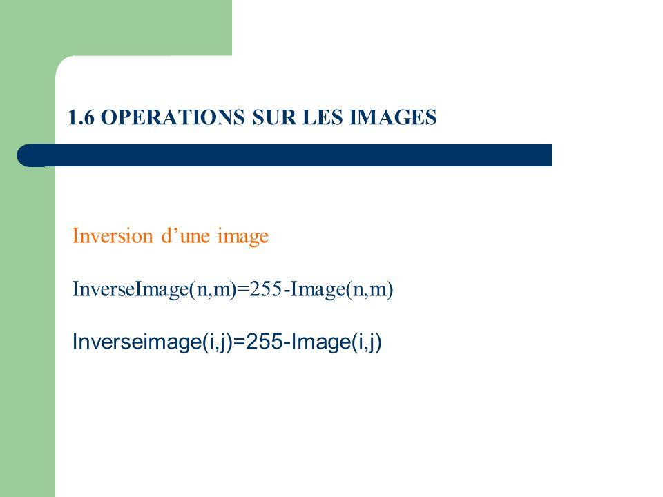 1.6 OPERATIONS SUR LES IMAGES Inversion dune image InverseImage(n,m)=255-Image(n,m) Inverseimage(i,j)=255-Image(i,j)