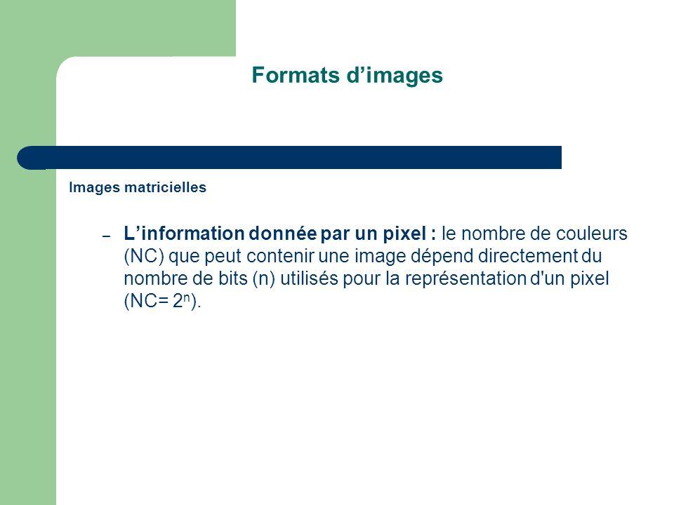 Formats dimages Images matricielles – Linformation donnée par un pixel : le nombre de couleurs (NC) que peut contenir une image dépend directement du nombre de bits (n) utilisés pour la représentation d un pixel (NC= 2 n ).