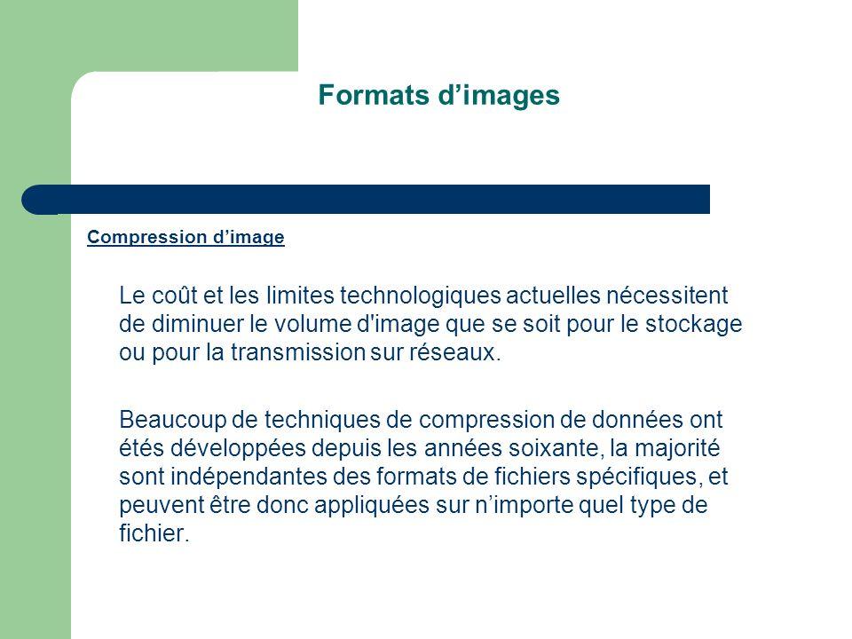 Formats dimages Compression dimage Le coût et les limites technologiques actuelles nécessitent de diminuer le volume d image que se soit pour le stockage ou pour la transmission sur réseaux.