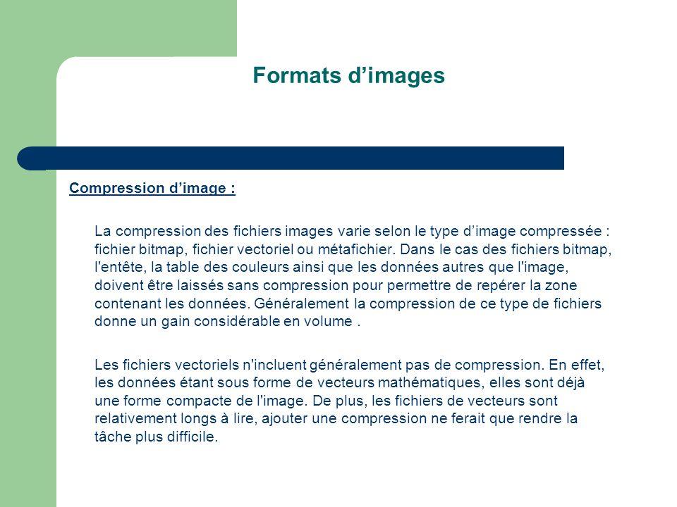 Formats dimages Compression dimage : La compression des fichiers images varie selon le type dimage compressée : fichier bitmap, fichier vectoriel ou métafichier.