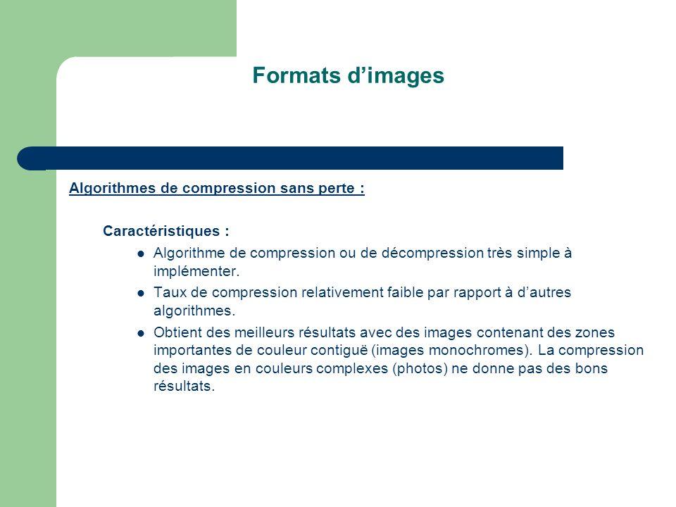 Formats dimages Algorithmes de compression sans perte : Caractéristiques : Algorithme de compression ou de décompression très simple à implémenter.