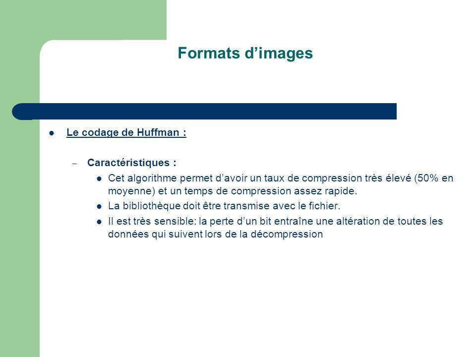 Formats dimages Le codage de Huffman : – Caractéristiques : Cet algorithme permet davoir un taux de compression très élevé (50% en moyenne) et un temps de compression assez rapide.