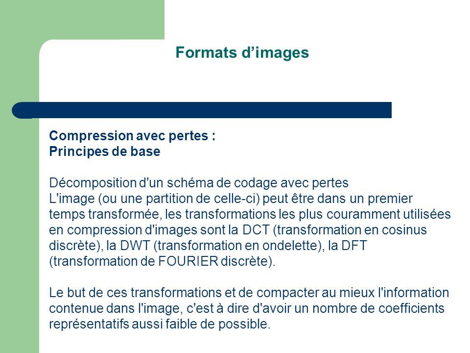 Formats dimages Compression avec pertes : Principes de base Décomposition d un schéma de codage avec pertes L image (ou une partition de celle-ci) peut être dans un premier temps transformée, les transformations les plus couramment utilisées en compression d images sont la DCT (transformation en cosinus discrète), la DWT (transformation en ondelette), la DFT (transformation de FOURIER discrète).