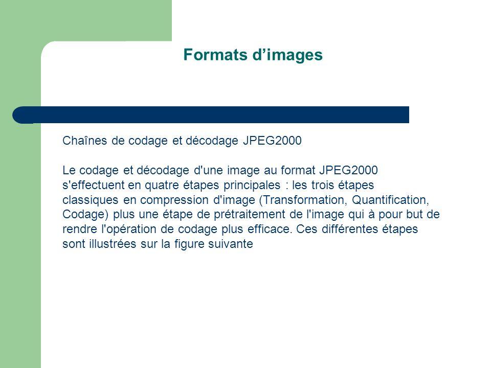 Formats dimages Chaînes de codage et décodage JPEG2000 Le codage et décodage d une image au format JPEG2000 s effectuent en quatre étapes principales : les trois étapes classiques en compression d image (Transformation, Quantification, Codage) plus une étape de prétraitement de l image qui à pour but de rendre l opération de codage plus efficace.