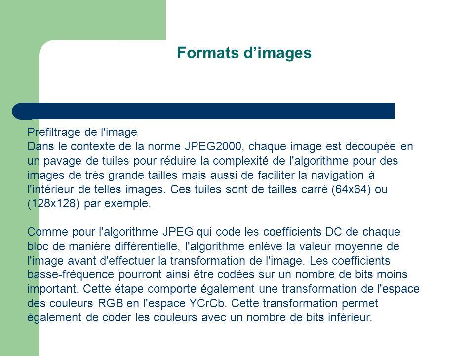Prefiltrage de l image Dans le contexte de la norme JPEG2000, chaque image est découpée en un pavage de tuiles pour réduire la complexité de l algorithme pour des images de très grande tailles mais aussi de faciliter la navigation à l intérieur de telles images.