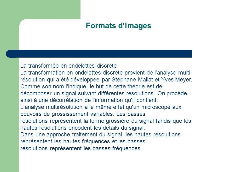 Formats dimages La transformée en ondelettes discrète La transformation en ondelettes discrète provient de l analyse multi- résolution qui a été développée par Stéphane Mallat et Yves Meyer.