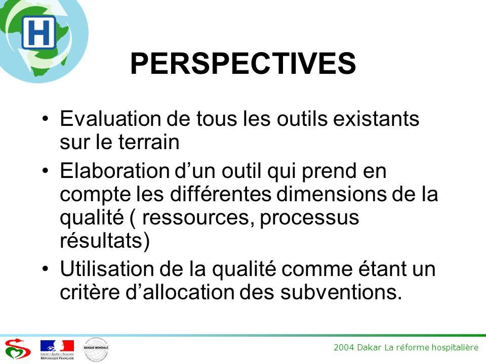 2004 Dakar La réforme hospitalière PERSPECTIVES Evaluation de tous les outils existants sur le terrain Elaboration dun outil qui prend en compte les différentes dimensions de la qualité ( ressources, processus résultats) Utilisation de la qualité comme étant un critère dallocation des subventions.