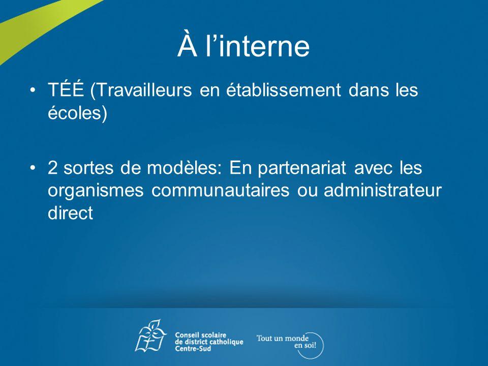 À linterne TÉÉ (Travailleurs en établissement dans les écoles) 2 sortes de modèles: En partenariat avec les organismes communautaires ou administrateu
