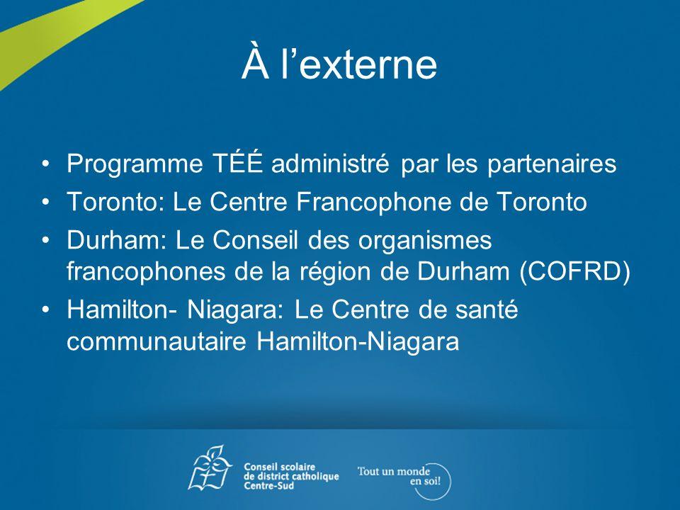 À lexterne Programme TÉÉ administré par les partenaires Toronto: Le Centre Francophone de Toronto Durham: Le Conseil des organismes francophones de la
