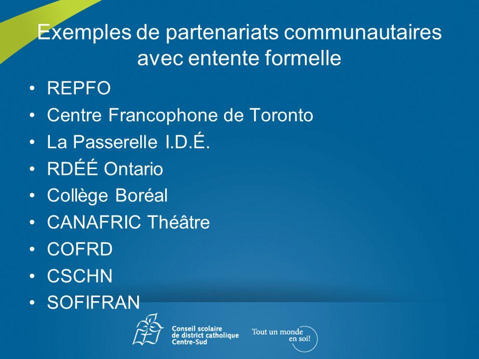 Exemples de partenariats communautaires avec entente formelle REPFO Centre Francophone de Toronto La Passerelle I.D.É. RDÉÉ Ontario Collège Boréal CAN