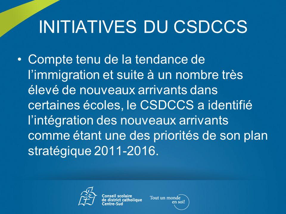 INITIATIVES DU CSDCCS Compte tenu de la tendance de limmigration et suite à un nombre très élevé de nouveaux arrivants dans certaines écoles, le CSDCC