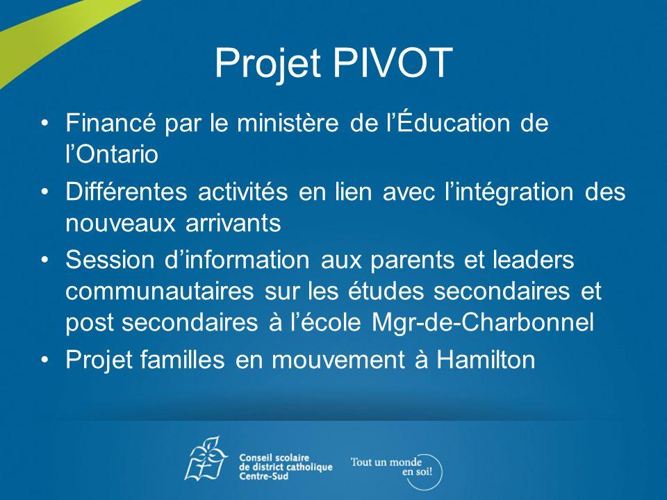 Projet PIVOT Financé par le ministère de lÉducation de lOntario Différentes activités en lien avec lintégration des nouveaux arrivants Session dinform