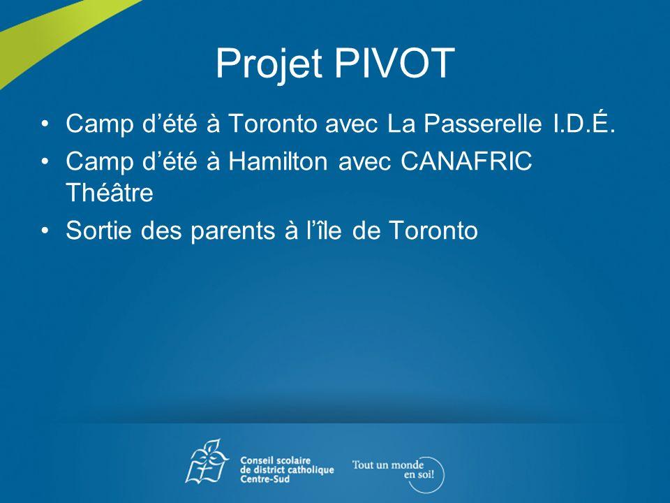Projet PIVOT Camp dété à Toronto avec La Passerelle I.D.É. Camp dété à Hamilton avec CANAFRIC Théâtre Sortie des parents à lîle de Toronto