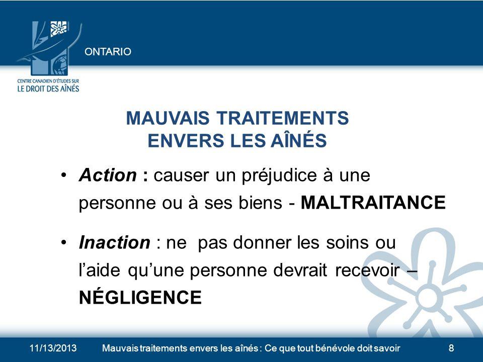 11/13/2013Mauvais traitements envers les aînés : Ce que tout bénévole doit savoir28 LIGNES DIRECTRICES POUR LINTERVENTION EN CAS DE MAUVAIS TRAITEMENTS 1.