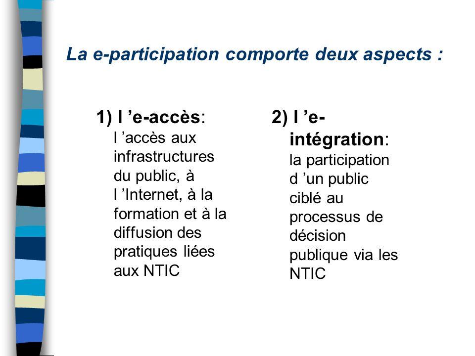 La e-participation comporte deux aspects : 1) l e-accès: l accès aux infrastructures du public, à l Internet, à la formation et à la diffusion des pratiques liées aux NTIC 2) l e- intégration: la participation d un public ciblé au processus de décision publique via les NTIC