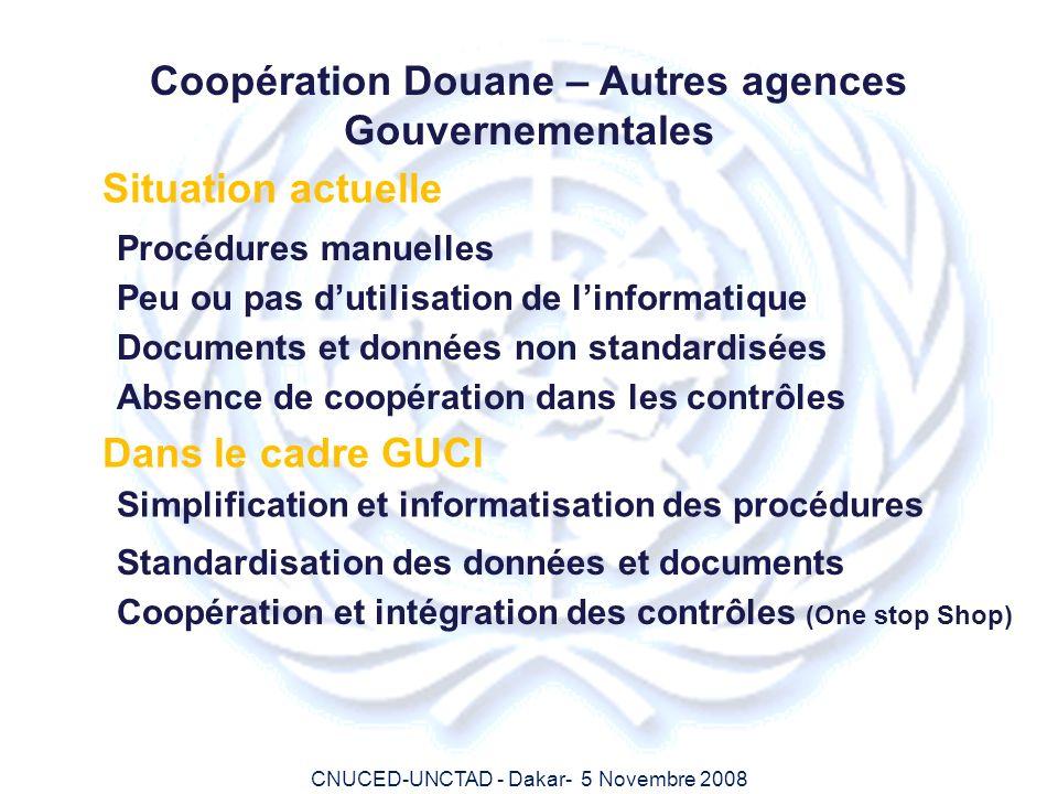 CNUCED-UNCTAD - Dakar- 5 Novembre 2008 Coopération Douane – Autres agences Gouvernementales Situation actuelle Peu ou pas dutilisation de linformatiqu