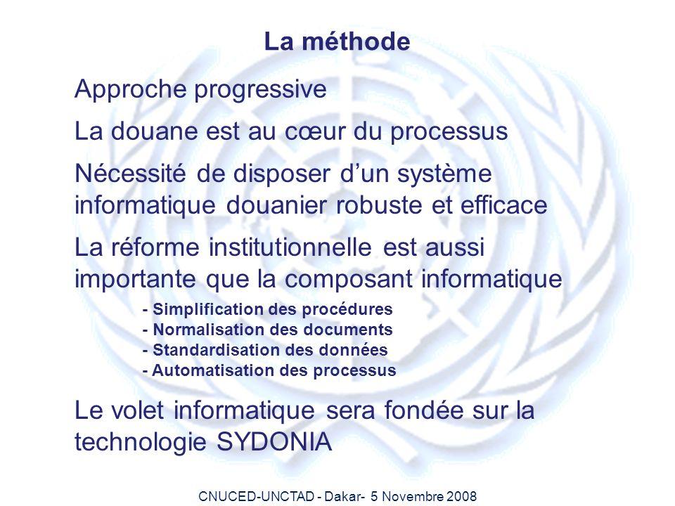 CNUCED-UNCTAD - Dakar- 5 Novembre 2008 Approche progressive La méthode La douane est au cœur du processus Nécessité de disposer dun système informatiq